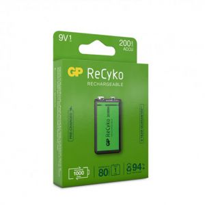 BLISTER 1 PILE RECHARGEABLE GP RECYKO 9V